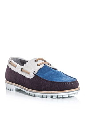 Contrast panel boat shoes