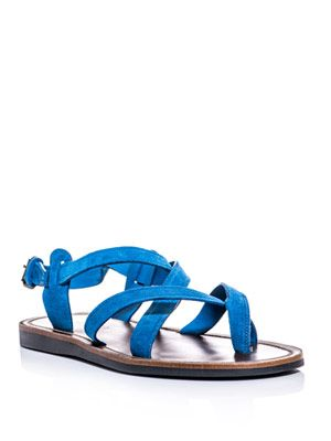 Cross-over suede sandals