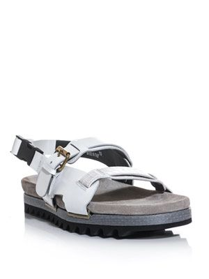 Snake trimmed leather sandals