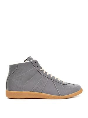 Embossed reflective high-top trainers