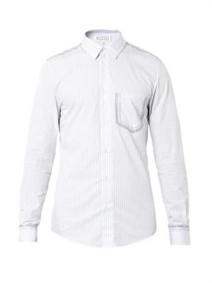 Coated pinstripe cotton shirt