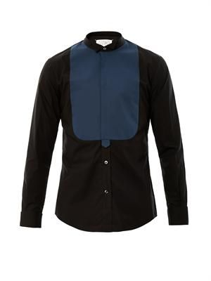 Wing collar bib front shirt