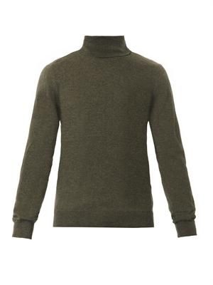 Elbow-patch roll-neck sweater