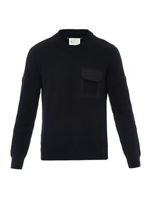 Chest pocket crew-neck sweater