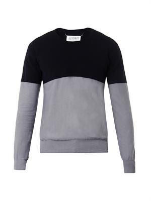 Bi-colour cotton-knit sweater