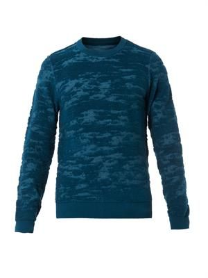 Camouflage burn-out wool-knit sweater