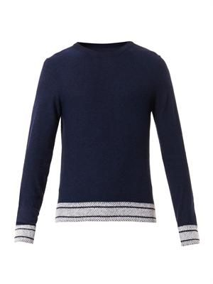 Contrast-knit wool sweater