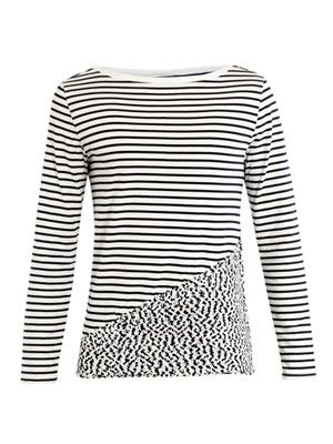 Stitched hem stripe-print top