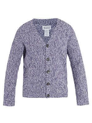 Hand-knit flecked cotton cardigan