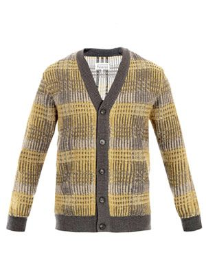 Tri-colour jacquard reverse-knit cardigan