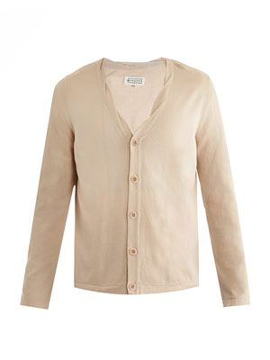 Twisted-seam cotton cardigan