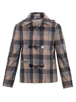Plaid duffle coat