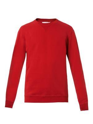 Leather elbow-patch sweatshirt
