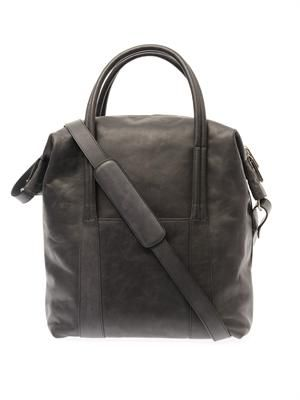 Washed leather tote