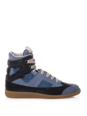 Multi-panel suede and leather trainers