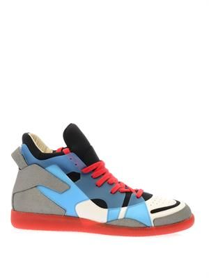 Neoprene, leather and plastic trainers