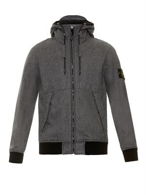 Wool-blend hooded bomber jacket