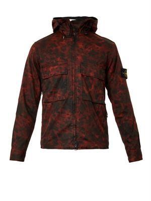 Raso Gommato hooded camouflage jacket