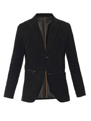 Suede single-breasted jacket