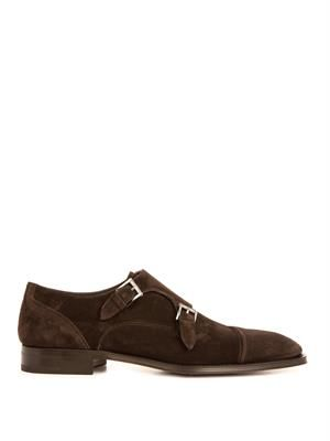 Suede monk-strap shoes