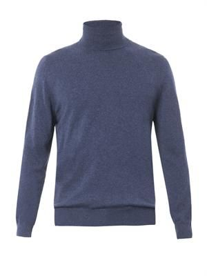 Roll-neck cashmere-knit sweater