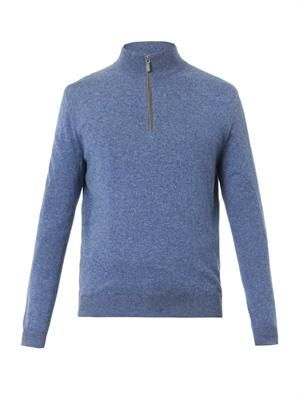 Roll-neck suede-trimmed sweater