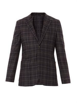 Check wool-blend blazer