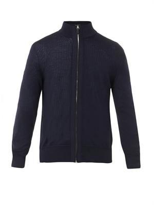 Zip-front navy cardigan