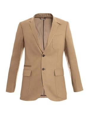 Linen silk patch-pocket blazer