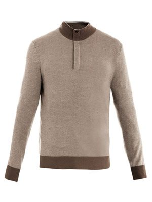 Half zip polo-neck sweater