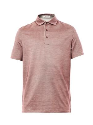 Cotton silk-blend polo shirt