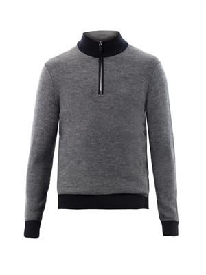 Quarter-zip mixed-weave sweater