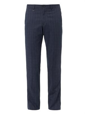 Check brushed-cotton trousers