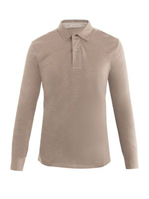Cotton-pique long-sleeve polo top