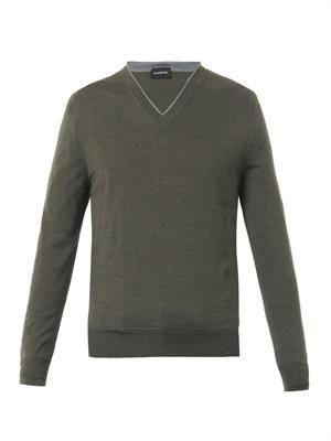 V-neck wool cashmere-blend sweater
