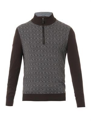 Herringbone-knit sweater