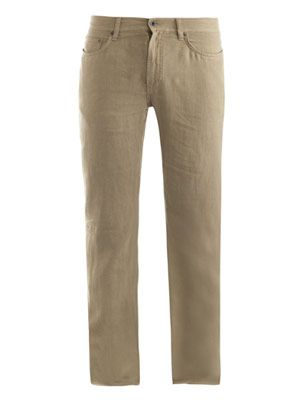 Five pocket linen trousers