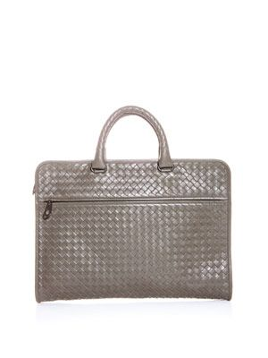 Intrecciato woven commuting bag