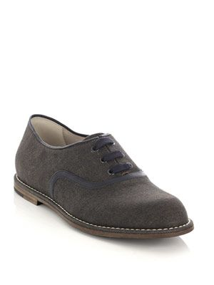 Oiled denim lace-up shoes