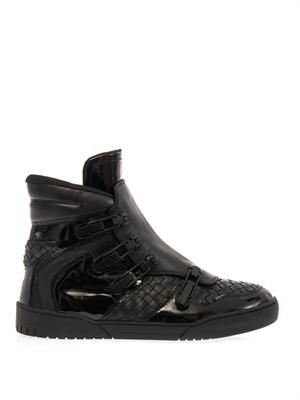 Intrecciato leather high-top trainers
