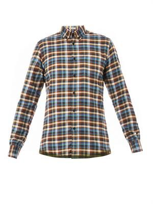 Check-print cotton-flannel shirt