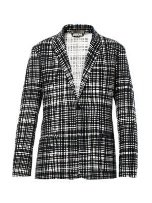 Notch-lapel check blazer