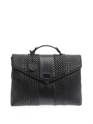 Multi intrecciato leather briefcase