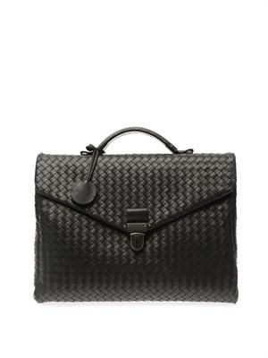 Intrecciato leather briefcase