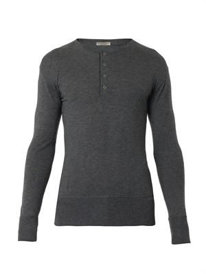 Button-front cashmere sweater