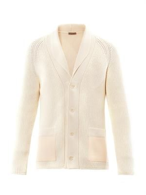 Ribbed-knit shawl-collar cardigan