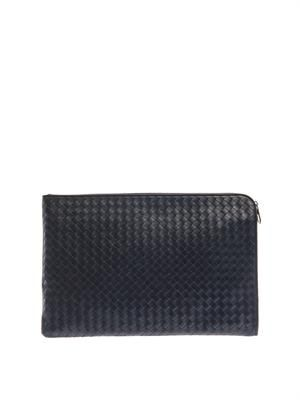 Intrecciato navy leather document holder