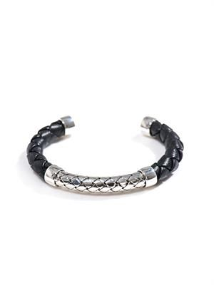 Intrecciato woven leather & silver bracelet