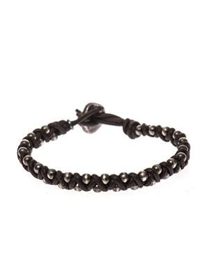 Oxidised-silver and leather bracelet