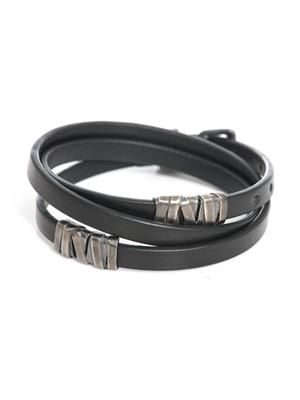Nero leather and silver bracelet